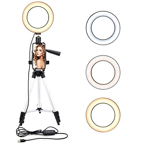 ASAKUKI Ring Light with Tripod Stand and Phone Holder for Selfie Pictures 6.3 inches, YouTube Videos, Makeup Application, Streaming LED Ring Light with 11 Brightness Levels &3 Lighting Modes