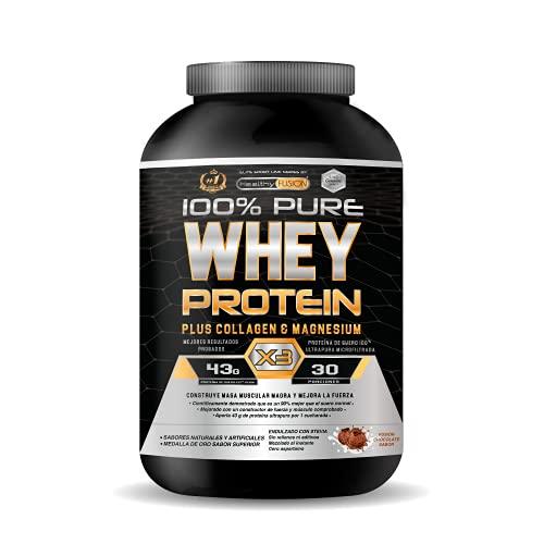 Whey Protein | Proteina whey pura con colágeno + magnesio | Mejora tus entrenamientos | Protege y aumenta la masa muscular | 1000g de proteína (Chocolate)