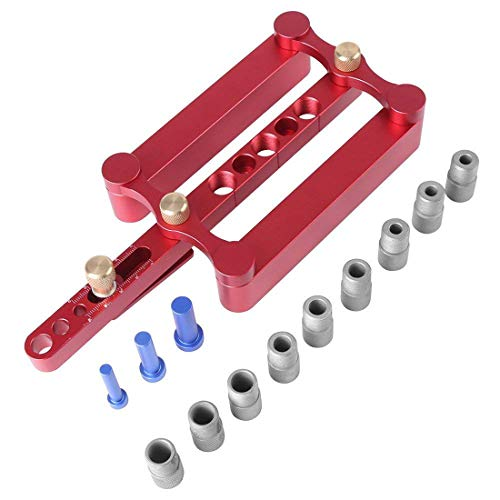 Holzbearbeitungslochsucher Set Vertikaler Drei-Wege-Alllochöffner Kit Holzstab Puzzle-Werkzeug mit 9 Bohrhüllen und 3 Stiften Rot