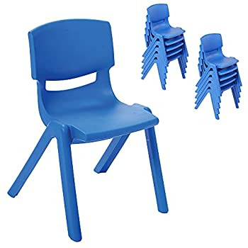 ECR4Kids 12 inch Plastic Stackable Classroom Chairs Indoor/Outdoor Resin Stack Chairs for Kids Blue  10-Pack