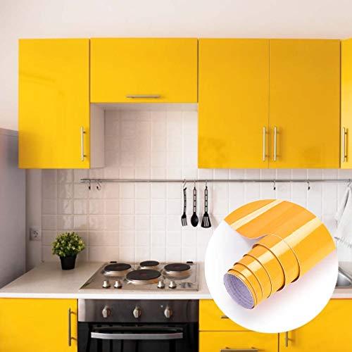 Klebefolie Küchenschränke Aufkleber Möbelfolie aus PVC 61 * 500cm Gelb Tapete selbstklebende Folie Küchenfolie mit Glitzer rückstandslos und kein Geruch Küchenfolie für Möbel Küche Tür