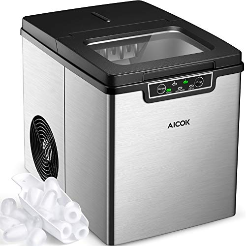 Aicok Portable Ice Maker, Countertop Ice Machine, 26 lbs of Ice per 24 hours, 9 Ice Cubes in 6-10 Minutes, 2 Quart Water Tank, Stainless Steel Ice Making Machine With Ice Scoop, Silver