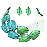 Rosemarie Collections Women's Ombre Polished Resin Statement Necklace Earring Set (Green)