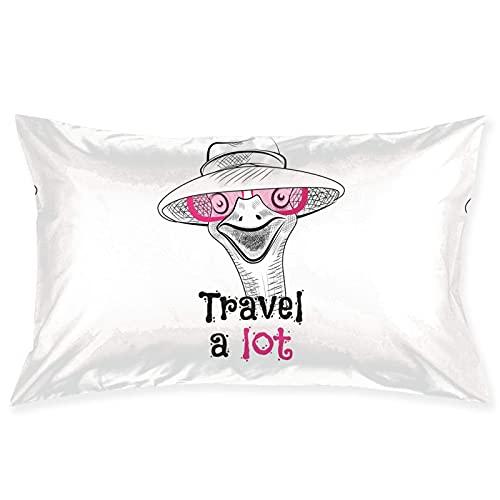 Throw Pillow Covers Funda de Almohada Ostrich Travel Throw Pillow Cover Cushion Case Funda de Almohada Adecuada para la decoración del hogar Sofá Cama Sofá de Coche 20x30