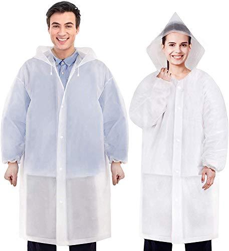 HBselect 2pcs Regencape wiederverwendbarRegenschutz Regenponcho wasserdicht atmungsaktiv durchsichtig Regenmantel wandern Poncho Regen für Damen Herren (Weiß 2 Pcs)