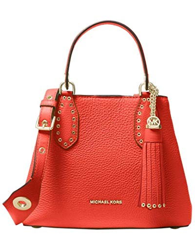 Color/material: sea coral pebbled leather Interior design details: one zip and one slip pocket Measures 11in wide x 7.5in high x 5in deep Top handles drop 5in Adjustable shoulder strap drops 25in