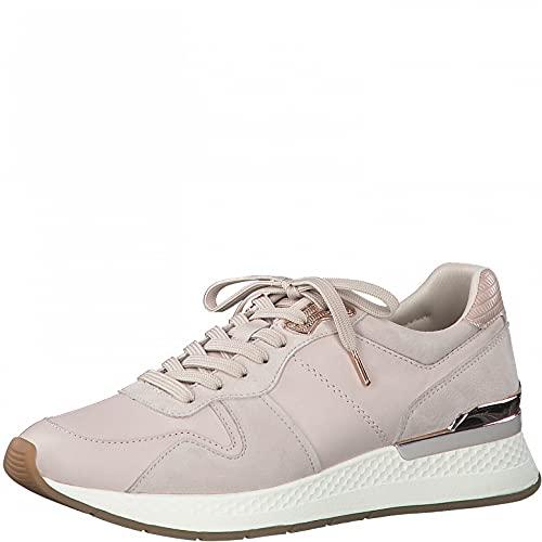 Tamaris Mujer Zapatillas, señora Bajo,Plantilla Desmontable,Cuña de tacón,Zapatos Bajos,con Cordones,Zapatos de Calle,Rose,37 EU / 4 UK
