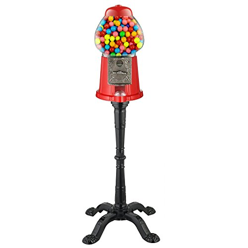 Carousel King Size Antique Gumball Machine with Stand, Holds 62 oz. of Gumballs (Red 15' w/ Stand)