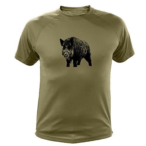 Lustiges Geschenk für Jäger Wildschwein einzeln - Jäger T Shirt (20186, grün, 9a)