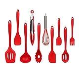 Küchenhelfer,10 Teiliges Set/Set Kochwerkzeug Set Schneebesen Löffel Spachtel Sieb Ölpinsel Zange Nudelwerkzeug Silikon Rot