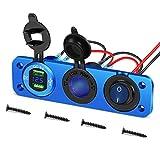Tbrand - Toma de mechero de 12 V/24 V, impermeable, 36 W, doble USB/QC3.0, panel de aleación de aluminio, con voltímetro LED y interruptor, para coche, remolque, barco