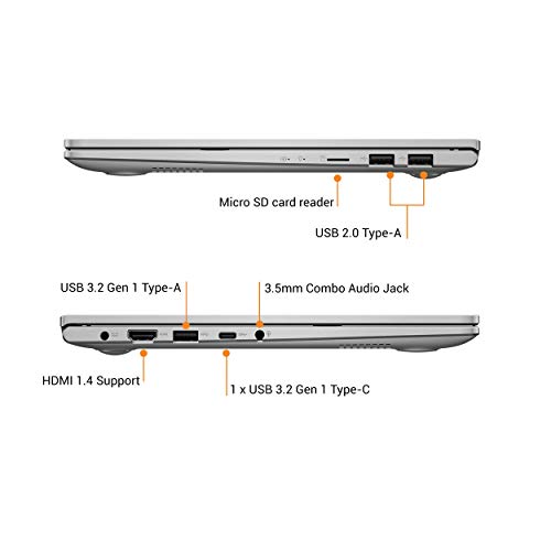 ASUS VivoBook Ultra K14 (2020), Intel Core i3-1005G1 10th Gen, 14-Inch FHD Thin and Light Laptop (8GB RAM/512GB SSD/Windows 10/Integrated Graphics/Transparent Silver/1.4 kg), K413JA-EK289T