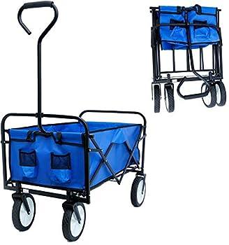 uyoyous Collapsible Outdoor Utility Wagon Folding Garden Portable Hand Cart Compact Garden Camping Cart Heavy Duty Wheelbarrow Shopping Carts with Universal Wheels for Shopping Picnic