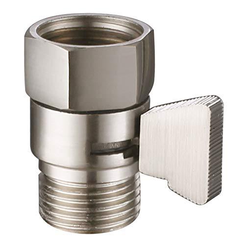Shower Flow Control Valve, Suyar Brass Handheld Shower Shut Off Valve, Water Volume Adjust Device, Water Pressure Regulator, Shower Flow Restrictor Brushed Nickel