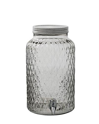 Bloomingville Getränke Dispenser Saftspender Getränkespender Wasserspender aus Glas im Landhaus Stil inkl. Zapfhahn und großem Schraubdeckel mit einer Füllmenge von 6L, Deckel aus Glas, perfekt für Ihre Bowle
