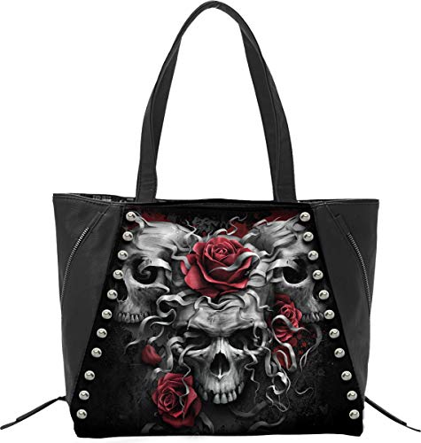 Spiral Skulls N' Roses Unisex Handtasche schwarz