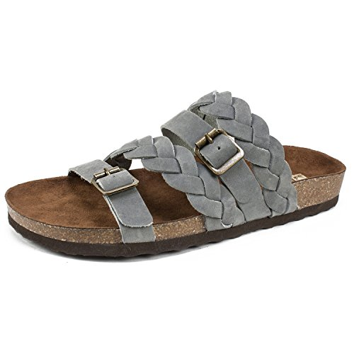 WHITE MOUNTAIN Shoes Holland Women's Sandal, LtBlue/Leather, 10 M