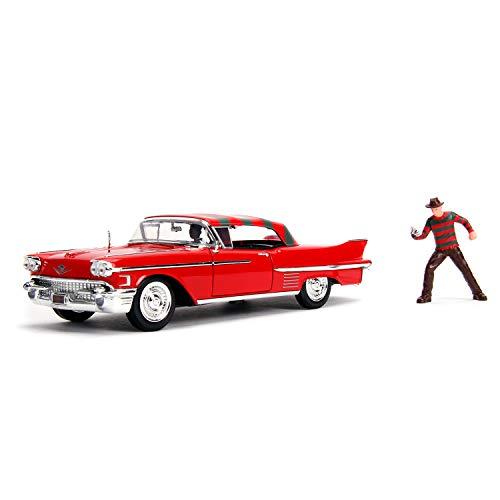 Jada 253255004 Pesadilla en Elm Street coche Cadillac Series 62 1958 Metal Con Figura 1:24 Fahrzeug, rot