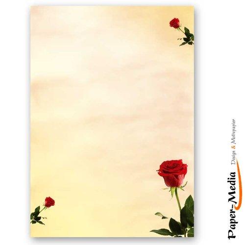 Motivpapier - Briefpapier BACCARA ROSEN 20 Blatt DIN A4 90g/m²