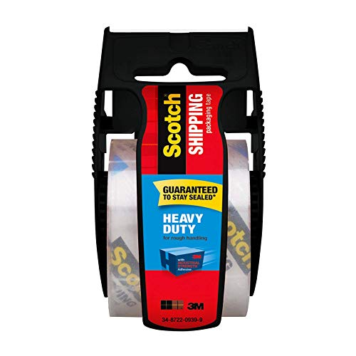 Scotch Heavy Duty Shipping Packaging Tape, 1 Roll with Dispenser, 1.88