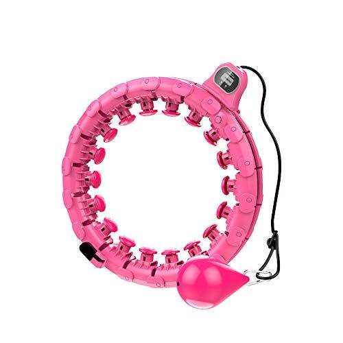 Queta Smart Fitness Reifen Erwachsene LED Counting Display Abnehmbarer 24 Knoten Spleiß-Fitness- Hula Reifen für schlanke Taille und Bauch zum Abnehmen Heimfitness Hula Reifen (Grapefruit rot)