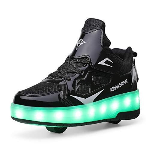 Zapatillas de skate para niños y niñas con LED, con doble rueda, para deportes al aire libre, gimnasia, fitness, carga USB, 7 colores intermitentes y luminosos., color Negro, talla 23 EU