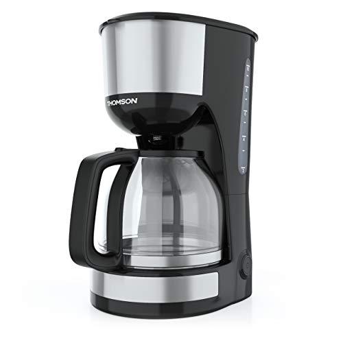 THOMSON Kaffeemaschine Filtermaschine (1,25 Liter) THC0912IX - Filterkaffeemaschine für 10 bis 12 Tassen, Filter-Kaffeemaschine mit Dauerfilter, Glaskanne & Anti-Tropf-System