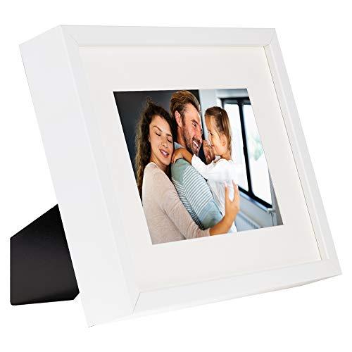 BD ART 20 x 25 cm Box 3D Marco de Fotos con Paspartu 13 x 13 cm, Blanco