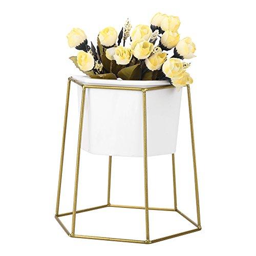 Zerodis Keramischer Blumentopf Pflanztopf Pflanzgefäß mit Geometrische Metall Pflanzenständer Weiß(#1)