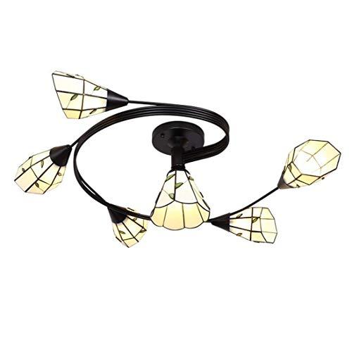 Lámpara de techo, luz de baño Lámparas de techo de estilo Tiffany, lámpara de techo de vidrieras vintage, accesorios de iluminación de techo redonda mediterránea retro para sala de estar de dormitorio