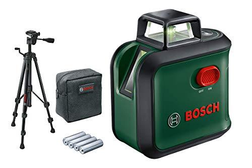 Bosch Kreuzlinienlaser AdvancedLevel 360 (Stativ, Arbeitsbereich: bis 24 m, selbstnivellierend bis ± 4°, grüner Laser, 4x AA-Batterien, im Karton)