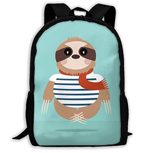Rucksack, Erwachsene Rucksäcke Jungen Schultertasche Schulranzen Schule Jahreszeit Faultier tragen Matrosen Streifen Hemd Reisetasche