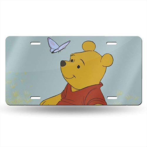 Suzanne Betty Aluminum License Plates - Winnie The Pooh with Butterfly License Plate Tag Car Accessories 12 X 6 Inches