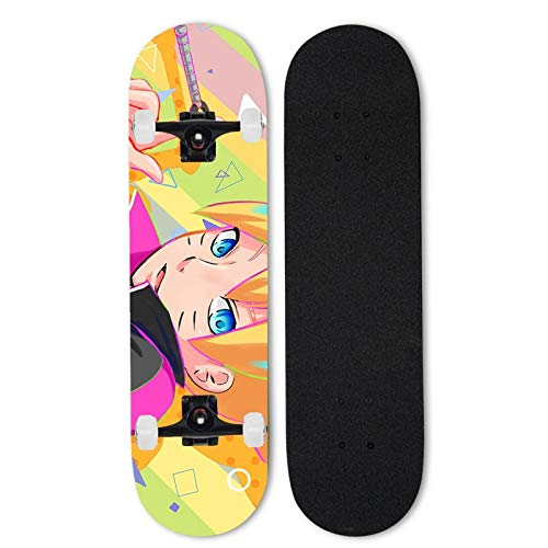 Totots Uzumaki Boruto Mapate Skateboard, Naruto 31 Pulgadas Skateboard Completo, patineta de Doble inclinación de Anime, Principiante/Scooters Profesionales de Cuatro Ruedas, patineta de Longboard d