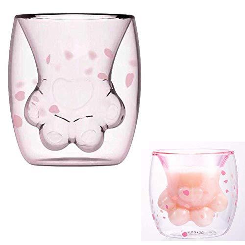 BALANSOHO Taza de café Sakura de doble pared de vidrio taza de garra de gato, resistente al calor, hecha a mano, creativa taza de leche para té y whisky
