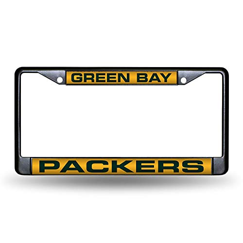 NFL Rico Industries Laser Cut Inlaid Standard Chrome License Plate Frame, Green Bay Packers ,6 x 12.25-inches