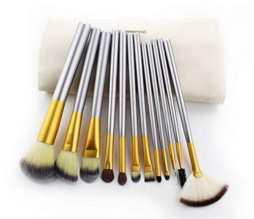 Pinceaux Maquillage Set Set de pinceau beige maquillage de cheveux persans, 12