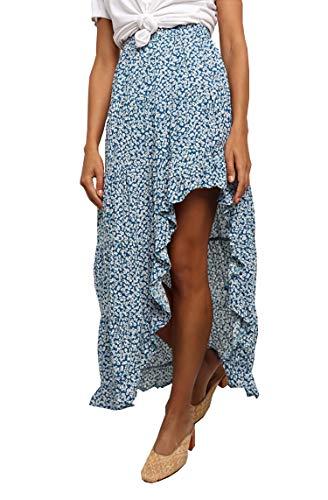 BTFBM Women Boho Floral Print Long Skirt Chic High Low Side Split Ruffle Hem Elastic Waist Swing Maxi Cotton Dress (Blue, X-Large)