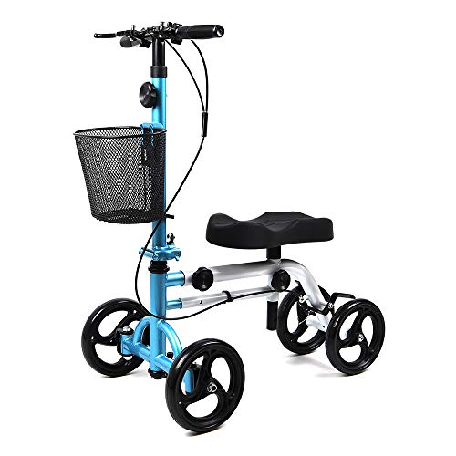 Knee Scooter All Terrain - Give Me Foldable Knee Scooter, Steerable Knee Walker for Broken Leg, Foot, Ankle Injuries Come with Orthopedic Seat Pad - Compact Crutches Alternative in Light Blue + White