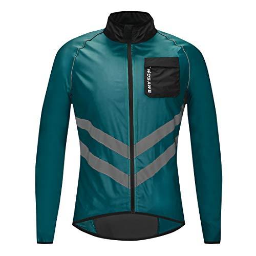 WOSAWE, Giacca da ciclismo, per mountain bike, antivento, impermeabile, leggera e sportiva, con striscia riflettente, per corse e gare in moto, Unisex - Adulto, BL218-Q-0XL, BL218 Blu marino, XL