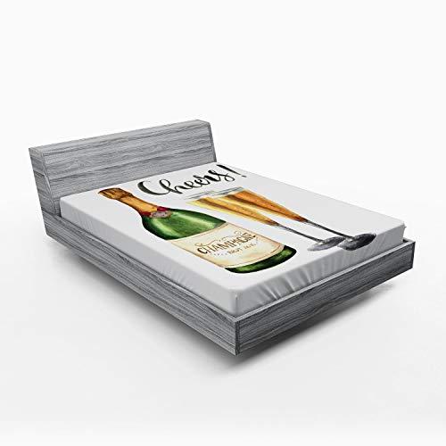 ABAKUHAUS Champagne Hoeslaken, Aquarel Proost Sketch, Zachte Decoratieve Stof Beddengoed, Elastische Band Rondom, 150x 190 cm, Veelkleurig