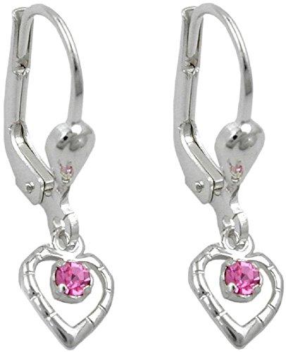 Schmuck Ohrschmuck Kinder Ohrringe Brisur Herz Glasstein pink aus 925 Silber 21 x 6 mm