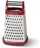 KitchenAid Gourmet 4-Sided Stainless Steel Box Grater with Detachable Storage Container, Small, Red