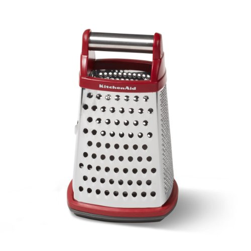 KitchenAid Gourmet 4Sided Stainless Steel Box Grater with Detachable Storage Container Small Red