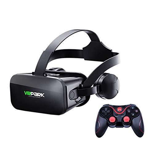 WMC Occhiali 3D VR Glasses Virtual Realtà per 4,7-6.7 Smart Phone Games Android Stereo con Controller per Cuffie,C