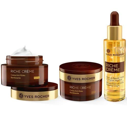 Yves Rocher RICHE CRÈME Facial Care Set for Women with Mature Skin with Day & Night Care and Beauty Elixir Beauty Gift Idea for Women