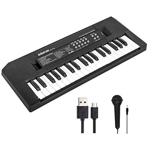 Shayson Teclado de Piano para Niños, 37 Teclas Teclado Musical Electrónico con Micrófono, Juguetes Musicales Educativos Regalos para Niños de 3 a 8 Años Niñas Niños Principiantes (Negro)