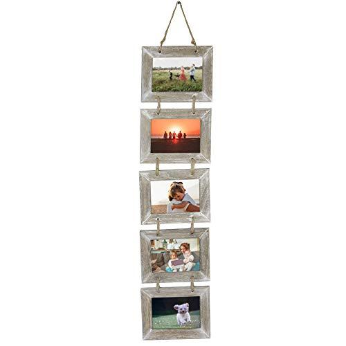 5 marcos de fotos de madera | Cinco marcos de cuadros | Decoración rústica colgante | Collage de fotos | Marcos múltiples para pared | M&W