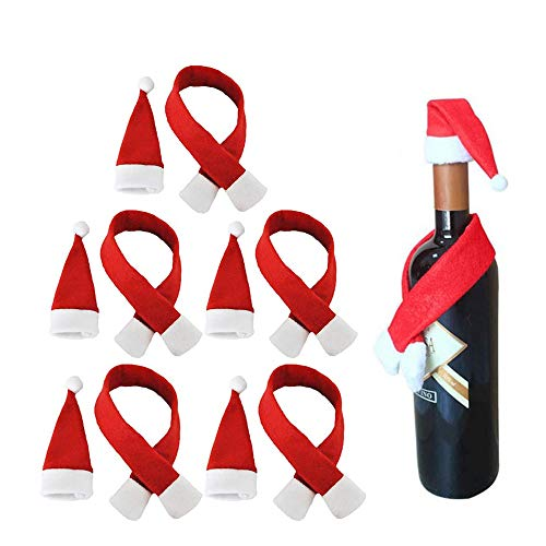Sqxaldm Sombrero Bufanda Decoración Botella de Vino Bolsa Mini Botella de Vino Navideña Sombrero de Santa Bufanda...