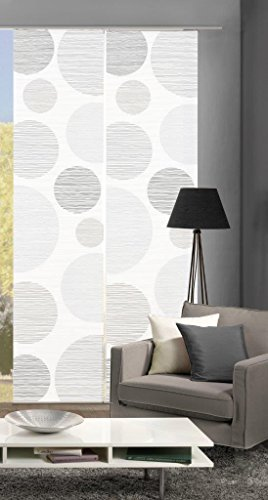 Vision S 55553 | 2er-Set Schiebegardinen Borden | halb-transparenter Stoff in Bambus-Optik | 2X 260x60 cm | Farbe: (grau)